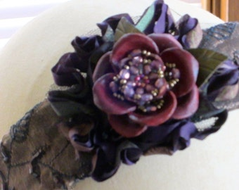 One of a Kind Purple Blooms Embellished Fabric Head Band