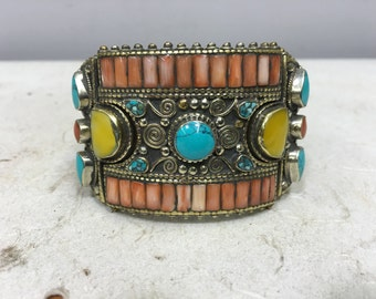 Bracelet Cuff Turquoise Coral Amber Silver Tibetan Cuff Bracelet Handmade Jewelry Pink Coral Turquoise Cuff  Statement Unique