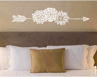 Flower Arrow Headboard Decor Wall Decal