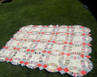 1930s Feed Sack Wedding Ring Quilt