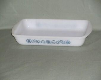 Vintage GlasBake Blue Floral Casserole | 1 1/2 quart Blue Floral Design GlasBake Dish | 1.5 Qt. White and Blue Casserole Glass Baking Dish