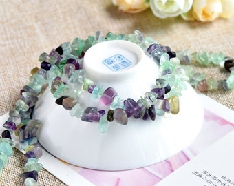 DIY Natural Gravel Fluorite Crystal Loose Beads with Strand (Length: 88-90cm)-WEN18279794438-MAY