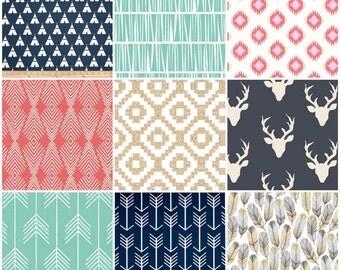Custom Crib Bedding Set, Made to Order, Arizona Aztec, Tribal, arrows, navy, mint,coral, gold, crib skirt, sheet, baby blanket