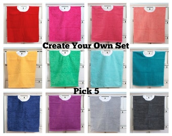 Pullover Hand Towel Bib Set of 5, Set of 5 Terry Cloth Bibs, Pick Your Own Colors