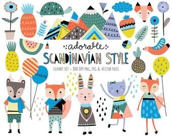 Cute Animals Clip Art Set - Scandinavian Style Clipart Design Elements - Unique Digital Clipart, Instant Download, Personal & Commercial Use