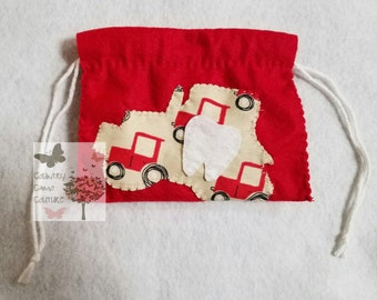 Felt Tractor Tooth Fairy Pouch