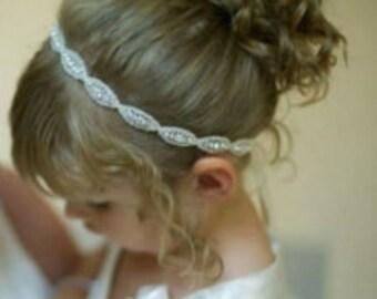 Rhinestone Flower Girl Headband, Weddings, Bridal Accessories, Flower Girl, Rhinestone Headband, Wedding Headband, Wedding Hair Accessories.