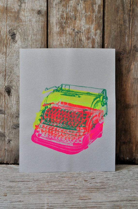 Dactylo #23, hand pulled silkscreen print, 8.5 x 11 inches, open edition.