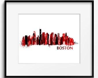 Boston Skyline Watercolor, Red Art Print (454) Cityscape Massachusetts