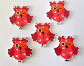 5 Red And Brown Wooden Owl Buttons  #SB-00220
