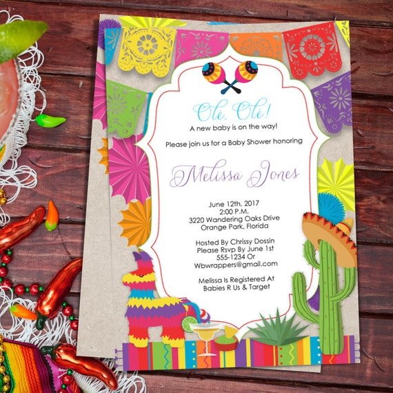 Baby Shower Fiesta Mexican Themed Baby Shower Invitation