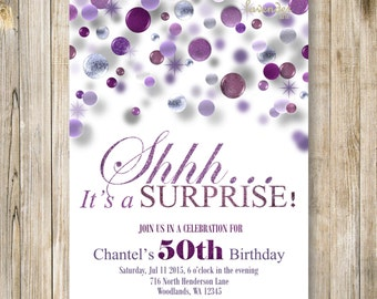 SURPRISE 40th Birthday Party Invitation, Shhh It's A Surprise Invite, Purple Glitter Birthday Invites, Woman 50th Birthday, 60th Birthday