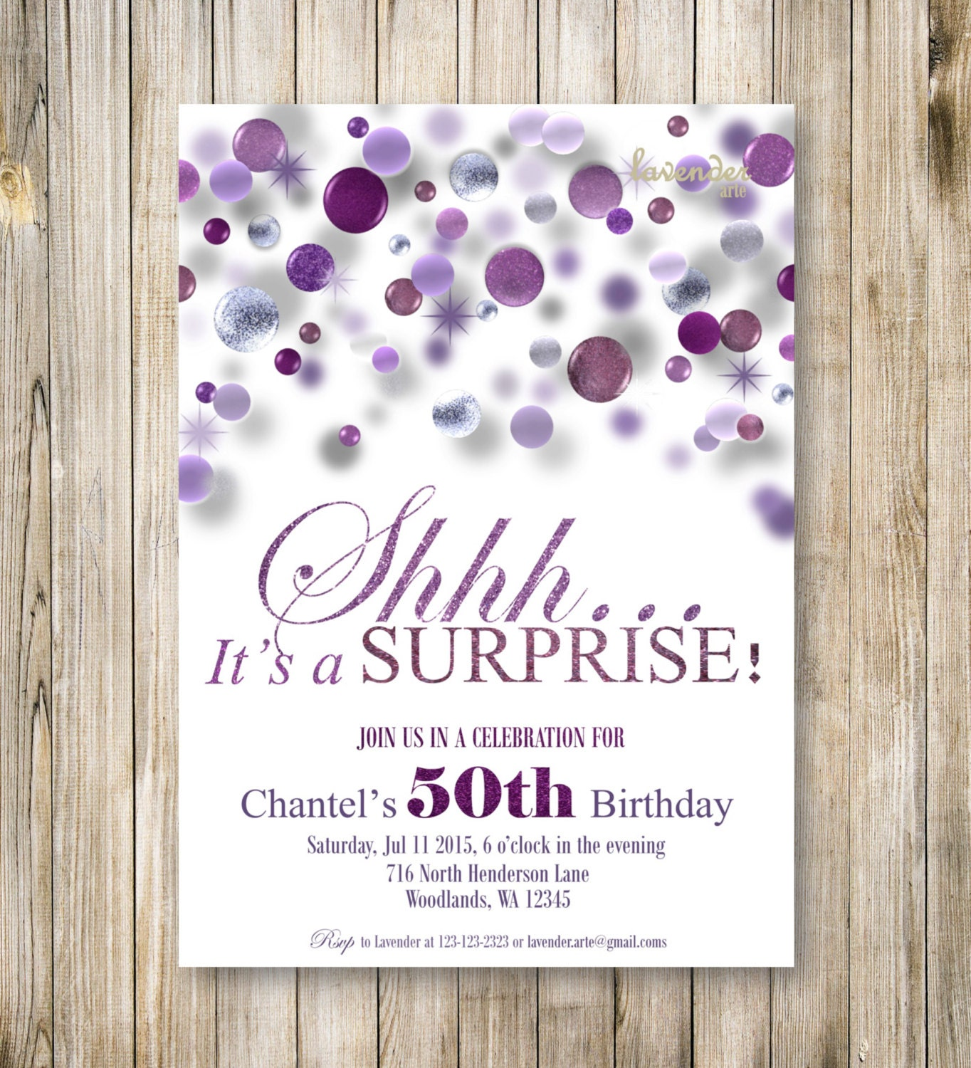 SURPRISE Woman Birthday Party Invitation, DIY Digital Purple Glitter ...