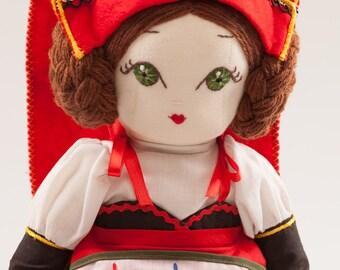 Michaella from Italy - Handmade Cloth Doll