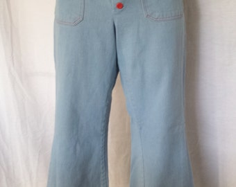 Vintage 1960's High Waist Button Front Jeans Pants blue red rockabilly misses small petite sz 2