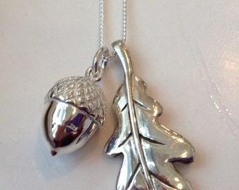 Sterling Silver Acorn and Oak Leaf Pendant Heavy Pendant