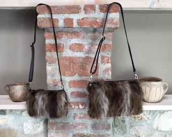 Real fur piece clutch