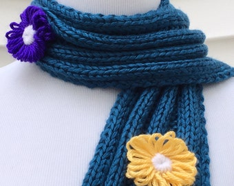 Teal Scarf Blue With Pink Purple and Yellow Flowers Scarf Knitted Winter Scarf