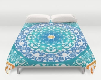 Mandala Duvet Cover Boho bedding Bohemian Twin Full Queen King Sets Modern Decor Gift Woman Accent Bedroom Hippie Turquoise Teal Unique