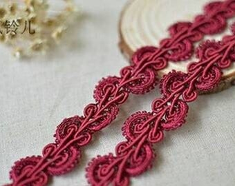 5 Yards RED Lace Trim Polyester Flower Braided Gimp Lace Trim Piping 2.5cm