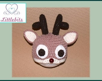 Littlebits Newborn Baby Crocheted Christmas Rudolph Reindeer Beanie -  Handcrafted & Sold in Australia
