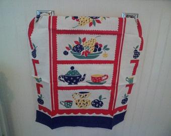Vintage Kitchen Tea Dish Towel Table Runner~Blue Red Calico Tea Cups Tea Pots Fruit Baskets Unused