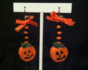 Jack-o-lantern Beaded Earrings