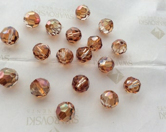 Swarovski #5000 Crystal Copper Round Ball Faceted Beads 4mm 6mm 8mm 10mm