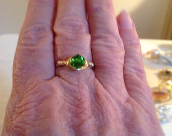 Size7 clear green bicone wire wrapped ring