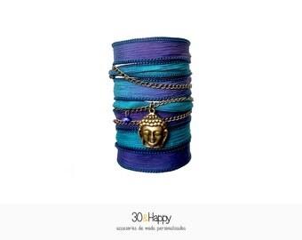 Buddha silk wrap bracelet