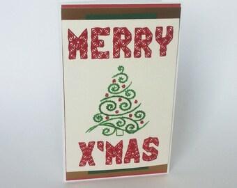 Christmas Card, Merry Christmas Card, String art, Handmade Card, Xmas Card, Holiday Card