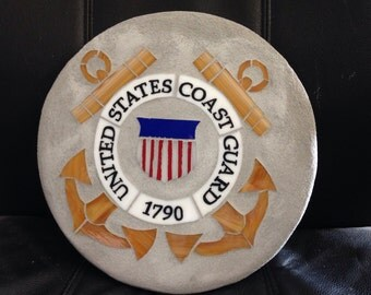 Coast Guard stained glass mosaic garden stepping stone