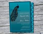 Peacock Wedding Invite, Peacock Wedding Invitation, 5x7 Invite, 5x7 Peacock Invite, Digital Peacock Invite, Digital Invite, Printable Invite