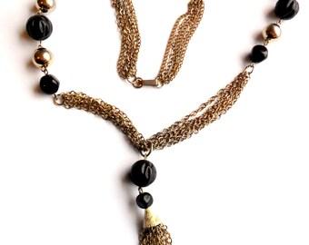 Vintage Black Beaded Tassel Necklace Molded Plastic Metallic 1970s Style