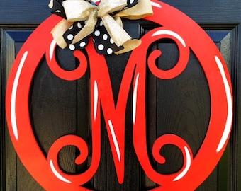 Letter Monogram Door Hanger, Monogram Door Hanger, Red Door Hanger, Red Monogram Door Hanger, Letter M Door Hanger