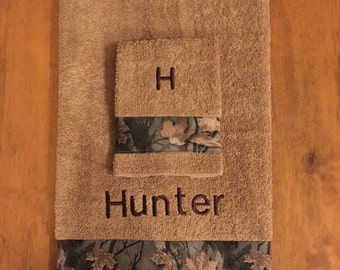2 Piece Camouflage Towel Set With Embroidered  Name, Towel Set, Home Decor, Bath Accessory, Towel Gift Set, Monagrammed Set, Embroidered.
