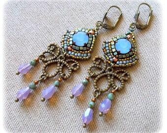 Earrings chandelier, blue, green, Opal, baroque, rococo, marie antoinette, vintage, pastel,