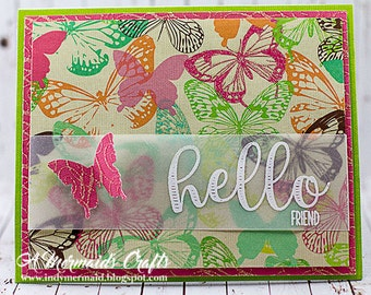 Handmade Butterfly Hello Friend Card