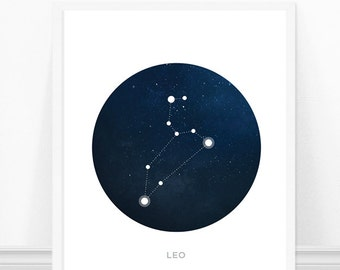 Leo Constellation Print, Zodiac Art Print, Astronomy Art, Constellations, Modern Art Print