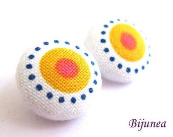 Yellow Polka dot earrings - Polka dot stud earrings - Polka dot posts - Polka dot studs - Dot post earrings sf387