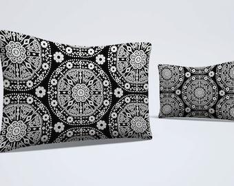 boho bed pillow pillow sham black white pillow floral pillowcase modern sham