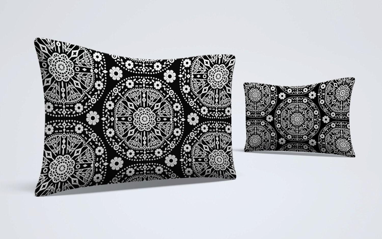 Boho Bed Pillow Pillow Sham Black White Pillow Floral