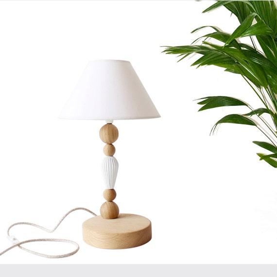 wood oak table lamp geometric table light modern minimalist. Black Bedroom Furniture Sets. Home Design Ideas