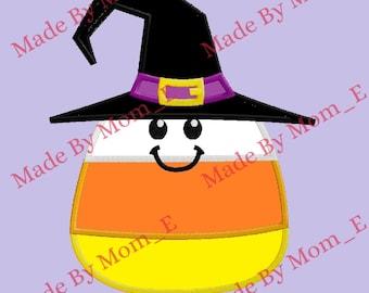 Cute Candy Corn Witch Applique