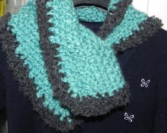 Handmade triangle scarf green and gray scarf neckwarmer