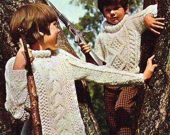 "childrens aran knitting pattern PDF Download chikdrens aran sweaters roll neck polo neck 21-32""aran worsted 10ply childrens knitting pattern"