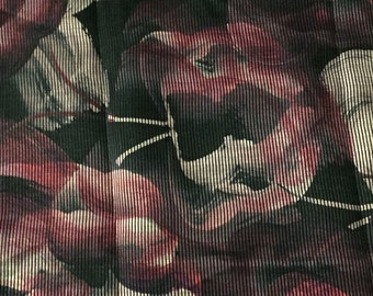 Textured Organza Print, Beige and Red Floral Pattern with a black background, 1 3/4 Yards