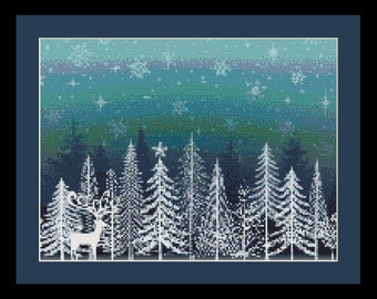 Winter Reindeer Counted Cross Stitch Pattern (12.5 x 9.36 in or 31.75 x 23.77 cm) download printable PDF file (4024)