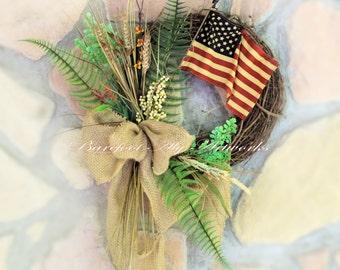 Rustic~LATE SUMMER/FALL Harvest Wreath~Americana~Patriotic~Antiqued~Burgundy~Flag~Burlap~Natural~Navy~Tan~Primitive~Neutral~Wheat~Labor Day