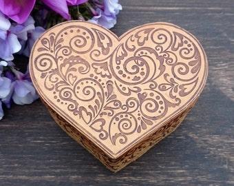 boho, decorative box, love, sister gift, gift box, hand carved, storage box, trinket box, girlfriends gift, birch, intricate, wood design
